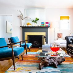 Create a focal point: Add punch to the living room via the fireplace. Painting a fireplace is an easy way to give a room a facelift.