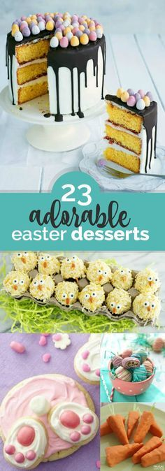 Easter is coming! Get ready by trying out these 23 adorable Easter desserts. How cute are the Easter basket cake pops, pretzel bunnies and ducks? Or, whip up a Easter Treats, Easter Desserts, Easter Recipes, Holiday Desserts, Holiday Baking, Holiday Treats, Holiday Recipes, Dessert Recipes, Recipes Dinner
