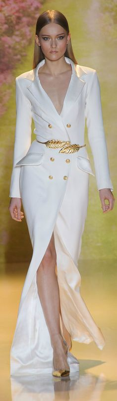 double breasted off white coat dress by Zuhair Murad ~Haute Couture Spring 2014
