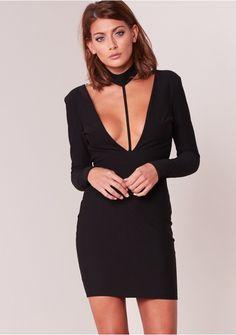 910b8bb36742 Amy Black Plunge Collar Detail Bodycon Dress Missy Empire Plunge Dress,  Latest Dress, Velvet