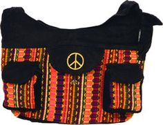 XL Saddle Bag in Corduroy & Hand Brocade with Peace Embroidery