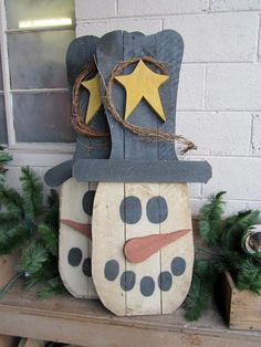Primitive #snowman easy #pallets #diy
