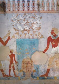 scene de chasse - tombe de Souemniout 18em dyn. regne de d'Amenhotep II. L'art du contour - Le dessin dans l'Égypte ancienne.