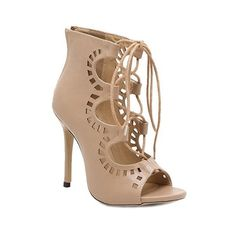 Fashion Women's Peep Toe Shoes With Lace-Up and Hollow Out Design ❤ liked on Polyvore featuring shoes, peep toe shoes, peeptoe shoes, nude shoes, laced up shoes and lace up shoes