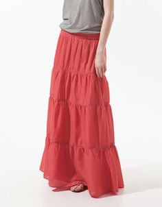PANELLED SKIRT - ZARA Woman -United States - in Coral Red. Great maxi skirt for summer.