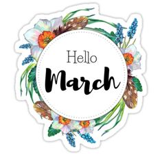 """""""Hello April - monthly cover for bullet journal, diary, planner"""" Stickers by vasylissa Bullet Journal Titles, Bullet Journal And Diary, February Bullet Journal, Bullet Journals, Journal Diary, Journal Stickers, Planner Stickers, Unisex Baby Names, Hello March"""