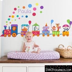 Tren con animales y confeti - Vinilos Infantiles. Train Kids Room Wall Decals