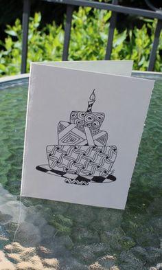Zentangle Design, Originally Hand-Drawn, Black Ink Blank Birthday Card