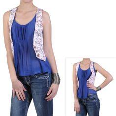Brinley Co Juniors Floral Print Casual Fashion Vest