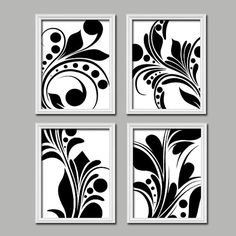 Bold Swirl Black & White Flourish Design Set of 4 Abstract Prints Bedroom Wall Decor Art Pictures Matching Bedding from TRM Design. Saved to Home Decor. White Wall Decor, Black And White Wall Art, Black And White Design, Wall Art Decor, Bedroom Decor Pictures, Home Decor Bedroom, Bedroom Wall, Blue Bedroom, Bedroom Ideas