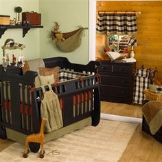 rustic bedding for rustic nursery :) if I ever have anymore babies this is what I'd love the room to look like