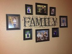 Family sign I found at Hobby Lobby with pictures of my kids around it. Perfect for a long wall in our living room.