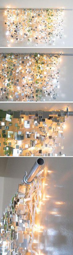 Small mirror tiles glued to fishing line with lights behind. small mirror tiles glued to fishing line with lights behind teenage girl room decor Diy Inspiration, Wedding Inspiration, Bathroom Inspiration, Ideias Diy, Small Mirrors, Hanging Mirrors, Hanging Lights, Square Mirrors, Mirror Tiles