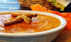 Portuguese Desserts, Portuguese Recipes, Portuguese Food, Mousse, Oatmeal, Recipies, Deserts, Pudding, Pumpkin
