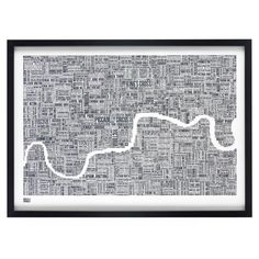 Show your love for London with this stunning typography map of the great city of London. The London type map is a hand pulled screen print by Bold & Noble. Word Map, London Wall, Silk Screen Printing, Kitchen Art, Cartography, Vintage Posters, Just In Case, Wall Art Prints, Walls
