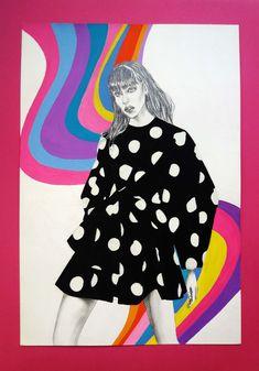 Carolina Herrera Spring 2020 original fashion illustration ©Stella Tsibida #carolinaherrerass20 #nyfw #voguerunway #illustrationdemode #illustratorsofinstagram #fashionillustration #originalfashionart #etsygreece #etsyusa #gouacheart #mixedmediaart #etsyoriginalart #etsyartforsale #polkadotdress #rainbowswirl #popart #psychedelicart #surrealart #fashionportrait #drawadot #fidaworldwide #fashionstyle #stellatsibidastudio Rainbow Swirl, Gouache Painting, Illustration Artists, Psychedelic Art, Ms Gs, Surreal Art, Carolina Herrera, Fashion Art, Pop Art