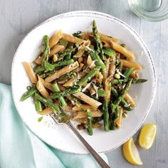 Penne with Asparagus, Pistachios, and Mint | CookingLight.com
