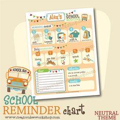 Printable Custom DAILY School Routine Chart - Neutral Theme - Custom Morning Routine Chart