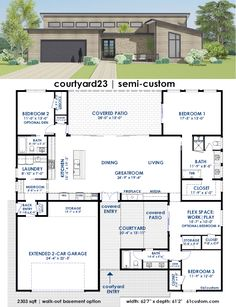 courtyard23 is a flexible semi-custom house plan with your choice of 2-6…
