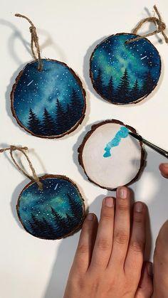 Fun Diy Crafts, Holiday Crafts, Crafts To Make, Wood Crafts, Christmas Crafts, Arts And Crafts, Diy Canvas Art, Nature Crafts, Diy Art