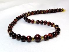 Men's Red Tiger's Eye Necklace  Cha Cherry Men's Beaded Necklace by Designed By Audrey, $44.00