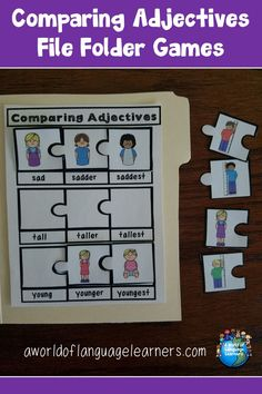Use file folder puzzles to help students practice comparing adjectives in a fun and hands on way. Great for ELLs! Adjective Anchor Chart, Adjective Games, Adjectives Activities, Phonics Activities, Language Activities, Teaching Vocabulary, Vocabulary Games, Teaching Language Arts, File Folder Games