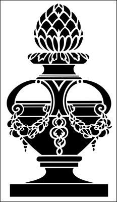Finial No 3 stencil from The Stencil Library ARCHITECTURE range. Buy stencils online. Stencil code AR70.