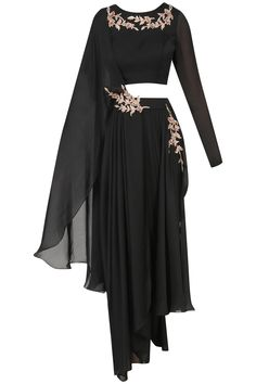Pink Peacock Couture presents Black embroidered dhoti and crop top set available only at Pernia's Pop Up Shop. Indian Fashion Dresses, Dress Indian Style, Indian Designer Outfits, Indian Outfits, Fashion Outfits, Stylish Dress Designs, Designs For Dresses, Stylish Dresses, Designer Party Wear Dresses