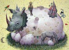 Obra de arte: ..en el nido del rinoceronte Elio Villate Garden Sculpture, Rooster, Outdoor Decor, Animals, Home Decor, Rhinos, Artworks, Artists, Knowledge
