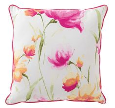 Celeste Square Cushion By Bianca Liven up your space with Celeste, where pops of color float on a fresh crisp white background. This stunning floral garden is