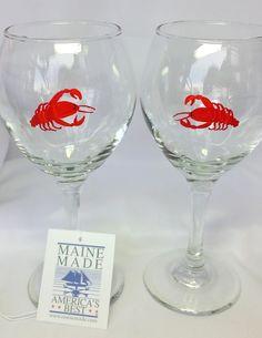 Lobster Wine glasses, Maine Lobster Stemware,  set of two by MaineWeddingArtist on Etsy https://www.etsy.com/listing/257371911/lobster-wine-glasses-maine-lobster