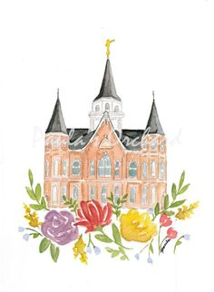 Provo City Center Utah LDS Temple Watercolor