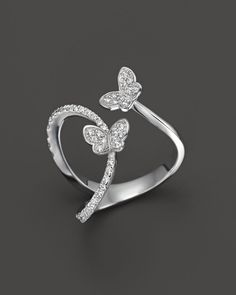 Diamond Butterfly Ring in 14K White Gold, .40 ct. t.w. - 100% Exclusive