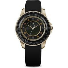 ELLE Watch - W1302 - RADIANT Rose Gold & Black Case & Black Mother of... ($170) ❤ liked on Polyvore featuring jewelry, watches, black jewelry, rose gold watches, rose gold jewellery, rose gold wrist watch and pink gold jewelry