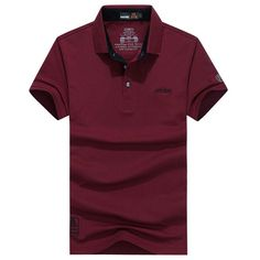AFSJEEP Mens Summer Solid Color Short Sleeve Casual Cotton Polo Shirt