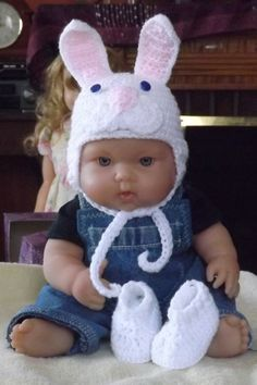 White bunny hat and bootie set by NutHouseKnots on Etsy