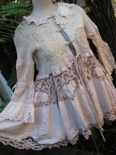cardigan sweater cut off and gathered battenburg lace skirt and sleeves added