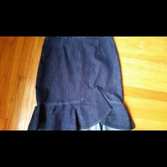 "Jean Skirt Anthropology jean denim ruffled skirt, Excellent Condition tag says sz 10 although I had a professional seamstress take in now a size 4 measures 14"" across Anthropologie Skirts"