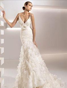 Белое русалочка современное свадебное платье со шлейфом открытая спина