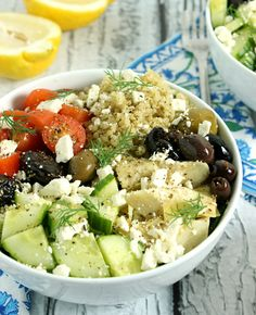 Loaded Greek Style Quinoa Bowls - YAY! Rice instead of quinoa, other than that, these are perfect.