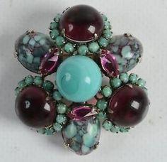 RARE Vintage Signed Schreiner New York HUGE Brooch Pin Moonstone Cabochon | eBay