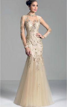 Tulle Sheath Jewel Floor-length Prom Dresses