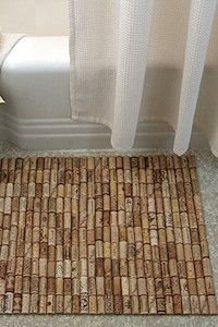 wine cork bath mat-- now I know what to do with my corks