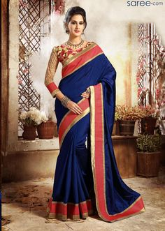 BLUE DUPION SILK SAREE WITH EMBROIDERY WORK