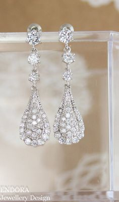 Vintage style bridal earrings   vintage inspired wedding   Downton abbey wedding   cubic zirconia earrings   www.endorajewellery.etsy.com