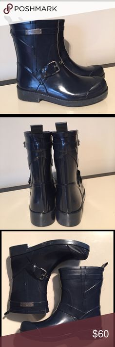 Coach 5 Lester navy blue rain boot buckle detail Coach 5 Lester navy blue rain boot buckle detail NWOB Coach Shoes Winter & Rain Boots