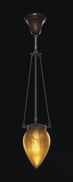 TIFFANY STUDIOS -  A 'STALACTITE' HANGING LIGHT, CIRCA 1910