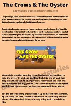 This is one of the good animal stories for children. Full story in link above, read now. Short Moral Stories, English Short Stories, Kids English, Long Time Ago, Stories For Kids, Art Activities, Oysters, Crow, Storytelling