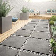 Wickes Al Fresco Graphite Indoor & Outdoor Porcelain Floor Tile 610 x Garden Tiles, Patio Tiles, Garden Floor, Outdoor Tiles Patio, Back Garden Design, Backyard Garden Design, Backyard Landscaping, Outside Flooring, Outdoor Flooring