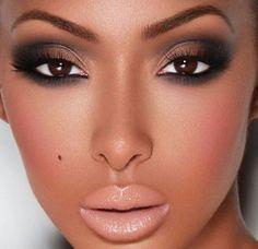 Smokey eye nude lips dark skin: